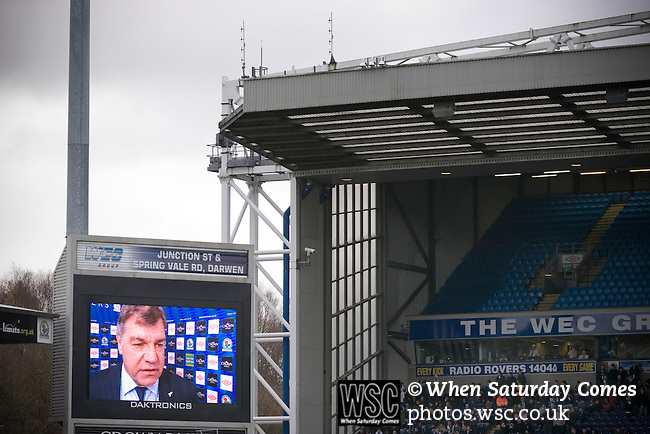 Manager Sam Allardyce being interviewed on the electronic scoreboard at Ewood Park, home of Blackburn Rovers, before the club played host to Aston Villa in a Barclays Premier League match. Blackburn won the match by two goals to nil watched by a crowd of 21,848. It was Rovers' first match under the ownership of Indian company Venky's.