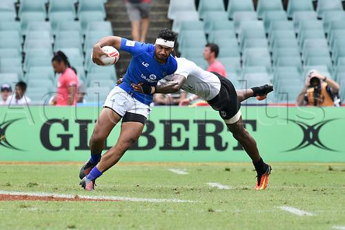 February 4th 2017, Allianz Stadium, Sydney, NSW, Australia; HSBC Rugby Sevens; Fiji versus Samoa;  Joe Perez (SAM) is tackled by Sevuloni Moenacagi (FIJ); Fiji won the game 40-0;