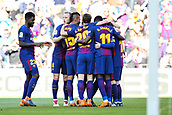 18th March 2018, Camp Nou, Barcelona, Spain; La Liga football, Barcelona versus Athletic Bilbao;  Barcelona players celebrate their goal from Paco Alcacer for 1-0 in the 8th minute