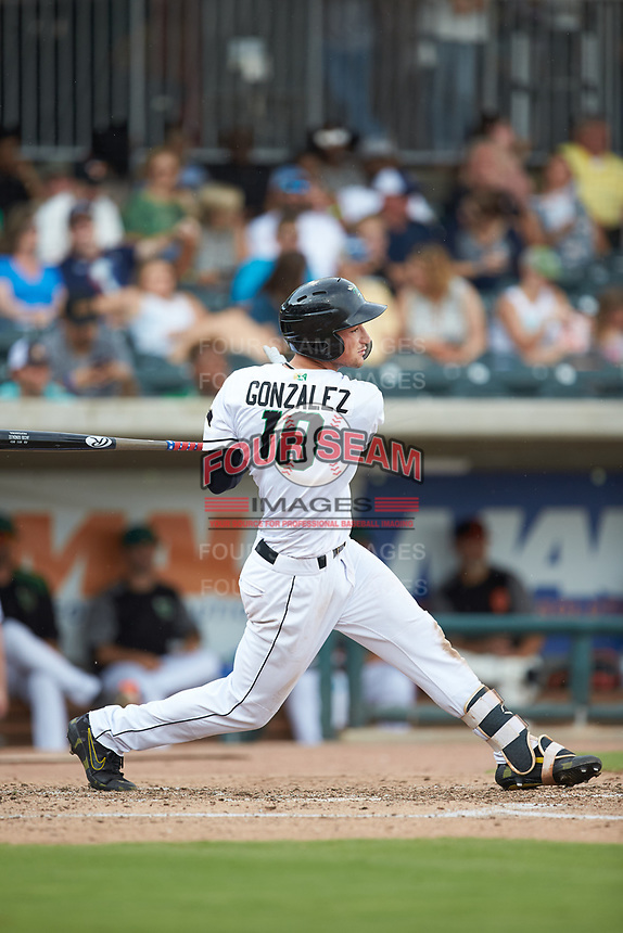Jacob Gonzalez (18) of the Augusta GreenJackets follows through on his swing against the Kannapolis Intimidators at SRG Park on July 6, 2019 in North Augusta, South Carolina. The Intimidators defeated the GreenJackets 9-5. (Brian Westerholt/Four Seam Images)