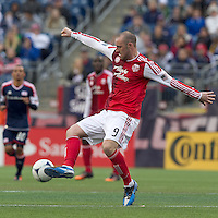 Portland Timbers forward Kris Boyd (9) controls the ball. In a Major League Soccer (MLS) match, the New England Revolution defeated Portland Timbers, 1-0, at Gillette Stadium on March 24, 2012