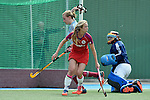 Mannheim, Germany, April 26: During the 1. Bundesliga Damen match between Mannheimer HC (red) and Uhlenhorster HC (light blue) on April 26, 2015 at Mannheimer HC in Mannheim, Germany. Final score 1-2 (0-2). (Photo by Dirk Markgraf / www.265-images.com) *** Local caption *** Greta Lyer #10 of Mannheimer HC