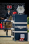 Kevin Staut of France riding on Aran competes during the EEM Trophy, part of the Longines Masters of Hong Kong on 10 February 2017 at the Asia World Expo in Hong Kong, China. Photo by Marcio Rodrigo Machado / Power Sport Images