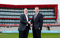 Picture By Allan McKenzie/SWpix.com - 11/04/18 - Cricket - Lancashire County Cricket Club Photo Call Media Day 2018 - Emirates Old Trafford, Manchester, England - Ed Thorne from Hilton with Daniel Gidney.