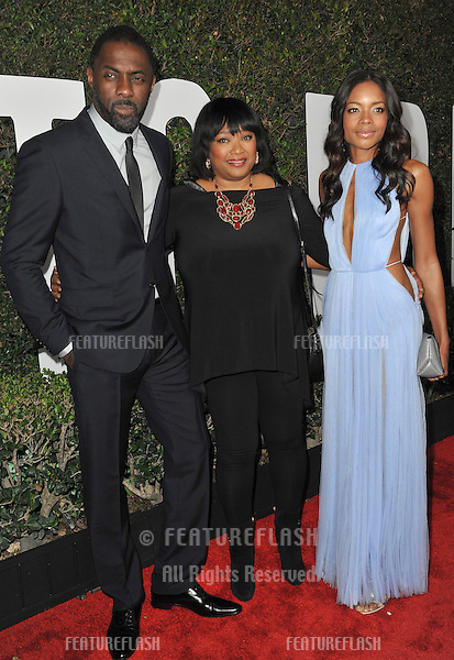 Idris Elba &amp; Naomie Harris with Zindzi Mandela (centre), daughter of Nelson Mandela, at the Los Angeles premiere of their movie &quot;Mandela: Long Walk to Freedom&quot; at the Cinerama Dome, Hollywood.<br /> November 11, 2013  Los Angeles, CA<br /> Picture: Paul Smith / Featureflash