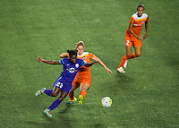 Orlando, FL - Thursday June 23, 2016: Jasmyne Spencer, Ellie Brush during a regular season National Women's Soccer League (NWSL) match between the Orlando Pride and the Houston Dash at Camping World Stadium.