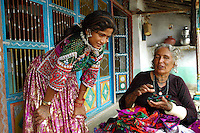Maldhari girl wearing wedding dress, with her mother..Michael Benanav - mbenanav@gmail.com