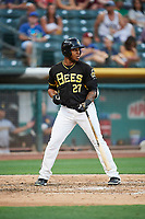 Rymer Liriano (27) of the Salt Lake Bees bats against the New Orleans Baby Cakes at Smith's Ballpark on June 8, 2018 in Salt Lake City, Utah. Salt Lake defeated New Orleans 4-0.  (Stephen Smith/Four Seam Images)