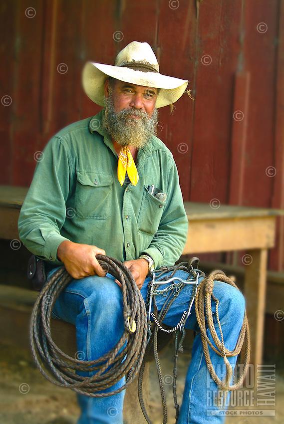 A Haleakala Ranch Hawaiian cowboy ( paniolo ) and his hand-braided ropes. Upcountry Maui