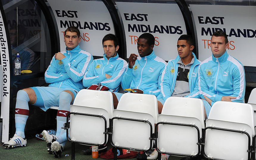 The Burnley bench before the match..Football - npower Football League Championship - Derby County v Burnley - Saturday 22nd September 2012 - Pride Park - Derby..