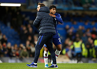 11th January 2020; Stamford Bridge, London, England; English Premier League Football, Chelsea versus Burnley; Chelsea Manager Frank Lampard congratulating Reece James of Chelsea - Strictly Editorial Use Only. No use with unauthorized audio, video, data, fixture lists, club/league logos or 'live' services. Online in-match use limited to 120 images, no video emulation. No use in betting, games or single club/league/player publications