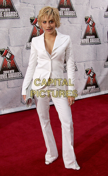 BRITTANY MURPHY.at the 2004 MTV Movie Awards held at The Sony Picture Studios in Culver City, .California,.6th June 2004..full length full-length white suit.*UK sales only*.www.capitalpictures.com.sales@capitalpictures.com.©Capital Pictures