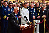 Vice President of the United Staes Mike Pence speaks on the first day the casket of former Senator John McCain in the Capitol Rotunda will lie in state at the U.S. Capitol, in Washington, DC on Friday, August 31, 2018. McCain, an Arizona Republican, presidential candidate and war hero died August 25th at the age of 81. He is the 31st person to lie in state at the Capitol in 166 years.    Photo by Kevin Dietsch/UPI