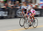 May 25, 2008:  Terrie Clouse (left) and Cari Higgins (right) sprint for the finish during the Morehart Suburu Criterium at the 2008 Ironhorse Bicycle Classic, Durango, Colorado. ..
