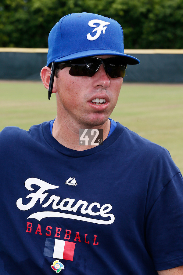 19 September 2012: France Jeff Stoeckel is seen prior to Team France friendly game won 6-3 against Palm Beach State College, during the 2012 World Baseball Classic Qualifier round, in Lake Worth, Florida, USA.