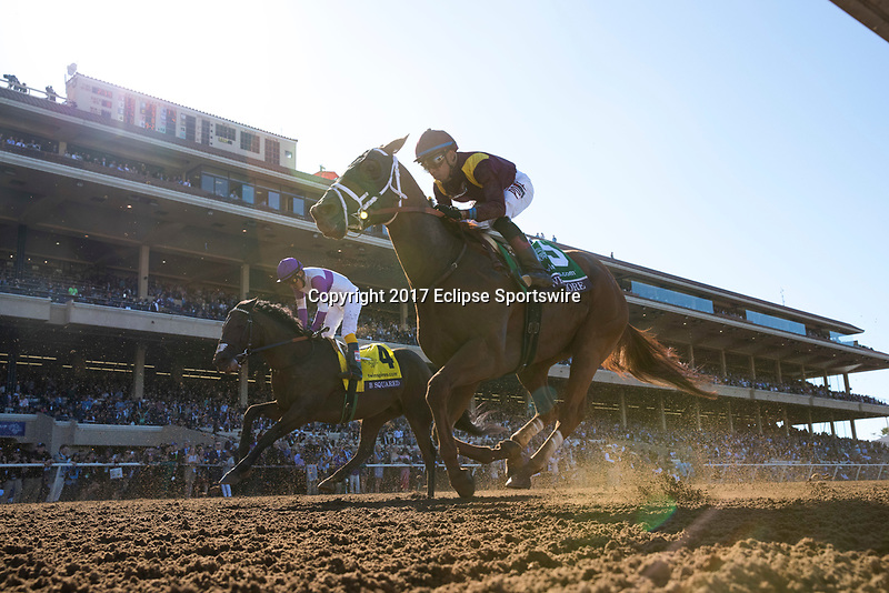 DEL MAR, CA - NOVEMBER 04: B Squared #4, ridden by Mario Gutierrez,and Whitmore #5, ridden by Manuel Franco, run the home stretch on Day 2 of the 2017 Breeders' Cup World Championships at Del Mar Thoroughbred Club on November 4, 2017 in Del Mar, California. (Photo by Alex Evers/Eclipse Sportswire/Breeders Cup)
