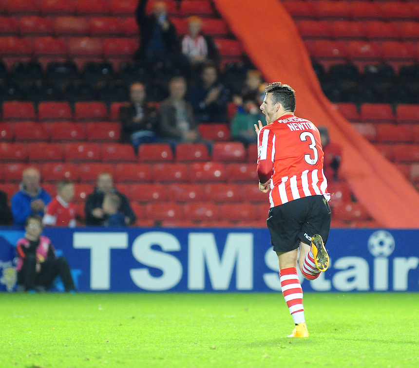 Lincoln City's Sean Newton celebrates scoring his sides third goal - his hat-trick<br /> <br /> Photo by Chris Vaughan/CameraSport<br /> <br /> Football - FA Challenge Cup Fourth Qualifying Round replay - Lincoln City v Alfreton Town - Tuesday 28th October 2014 - Sincil Bank - Lincoln<br /> <br /> &copy; CameraSport - 43 Linden Ave. Countesthorpe. Leicester. England. LE8 5PG - Tel: +44 (0) 116 277 4147 - admin@camerasport.com - www.camerasport.com