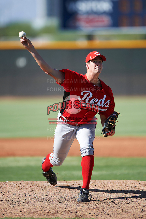 Cincinnati Reds minor league pitcher Ryan Fennell #43 during an instructional league game against the Cleveland Indians at the Goodyear Training Complex on October 8, 2012 in Goodyear, Arizona.  (Mike Janes/Four Seam Images)