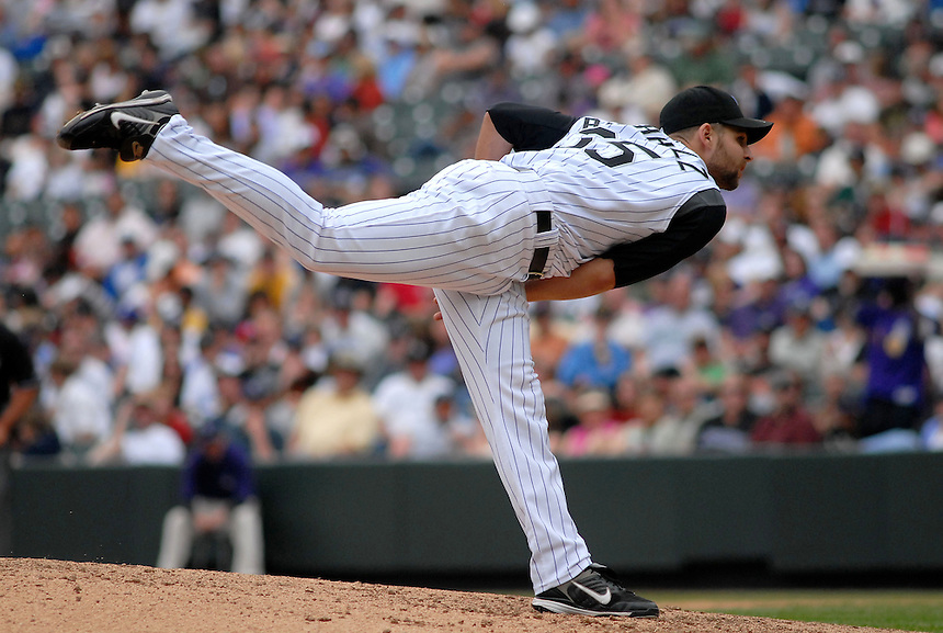 Colorado Rockies relief pitcher Taylor Buchholz during a game against the Los Angeles Dodgers at Coors Field in Denver, CO on May 4, 2008.
