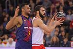 League ACB-ENDESA 2017/2018 - Game: 20.<br /> FC Barcelona Lassa vs Retabet Bilbao Basket: 90-58.<br /> Shane Hammink vs Adam Hanga.