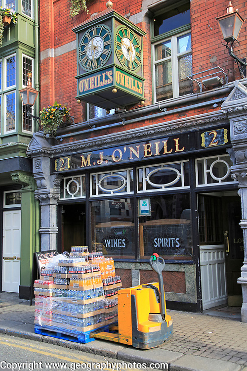 Bottles morning deliveries M.J. O'Neill traditional pub,  Dublin city centre, Ireland, Republic of Ireland