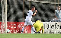 Florian Funk (Griesheim) erzielt das 3:2 gegen Hans Steinle (Eintracht) und jubelt - 16.05.2018: SCV Legenden gegen Eintracht Frankfurt Traditionsmannschaft, Sportfeld Süd Griesheim