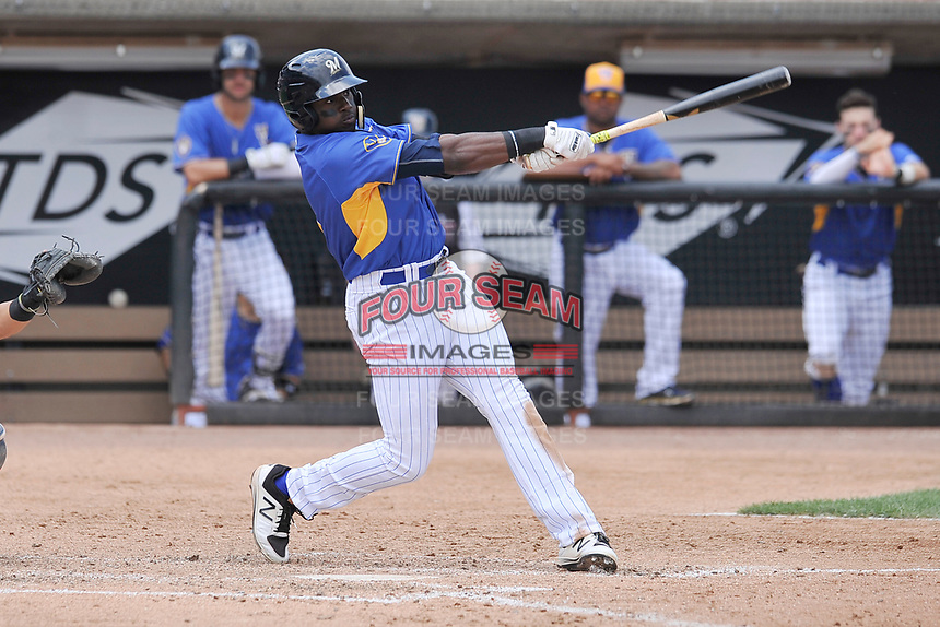 Wisconsin Timber Rattlers right fielder Demi Orimoloye (6) swings during a game against the Quad Cities River Bandits at Fox Cities Stadium on June 27, 2017 in Appleton, Wisconsin.  Wisconsin lost 6-5.  (Dennis Hubbard/Four Seam Images)