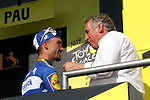 Stage winner Julian Alaphilippe (FRA) Deceuninck-Quick Step pictured with Francois Bayrou Mayor of Pau at the end of Stage 13 of the 2019 Tour de France an individual time trial running 27.2km from Pau to Pau, France. 19th July 2019.<br /> Picture: ASO/Thomas Maheux | Cyclefile<br /> All photos usage must carry mandatory copyright credit (© Cyclefile | ASO/Thomas Maheux)