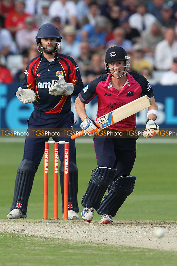 Joe Denly in batting action for Middlesex as James Foster looks on - Essex Eagles vs Middlesex Panthers - Friends Life T20 Cricket at the Ford County Ground, Chelmsford, Essex - 05/07/12 - MANDATORY CREDIT: Gavin Ellis/TGSPHOTO - Self billing applies where appropriate - 0845 094 6026 - contact@tgsphoto.co.uk - NO UNPAID USE.