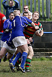 21.04.12<br /> Action from Fitzgerald Park Limerick, Thomond V Highfield. Highfield's Paul Stack in action against Thomond's David Quin and Leonard Slattery. Picture: Alan Place/Press 22.