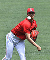 MLB: Shohei Ohtani of Los Angeles Angels warms up before a game against Houston Astros