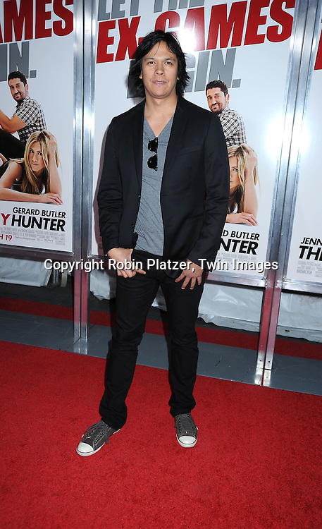 """actor Chaske Spencer attending the New York Premiere of """"The Bounty Hunter"""" on March 16, 2010 at The Ziegfeld Theatre."""