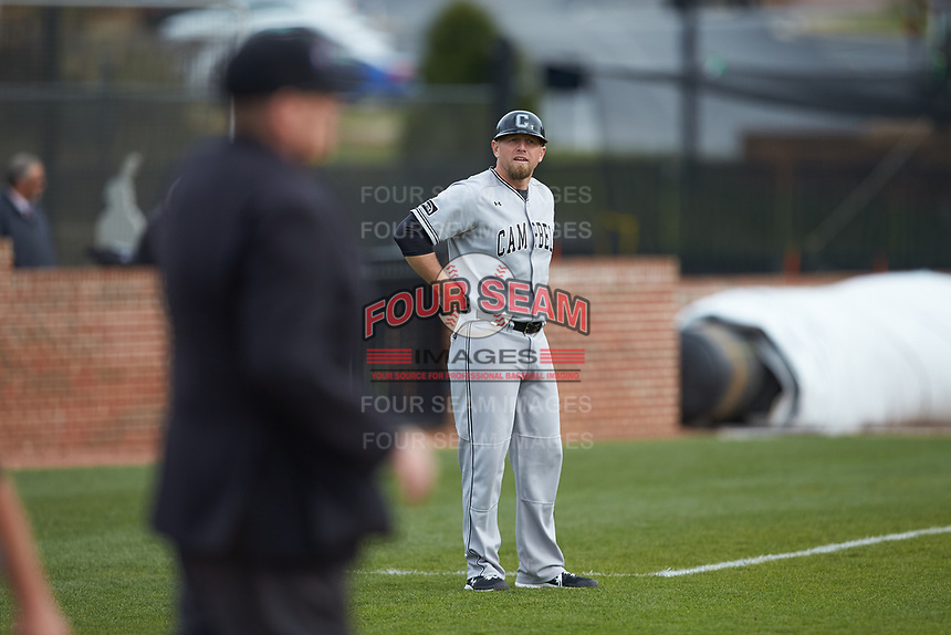 Campbell Camels head coach Justin Haire (3) stares at home plate umpire Tony Carilli during the game against the High Point Panthers at Williard Stadium on March 16, 2019 in  Winston-Salem, North Carolina. The Camels defeated the Panthers 13-8. (Brian Westerholt/Four Seam Images)