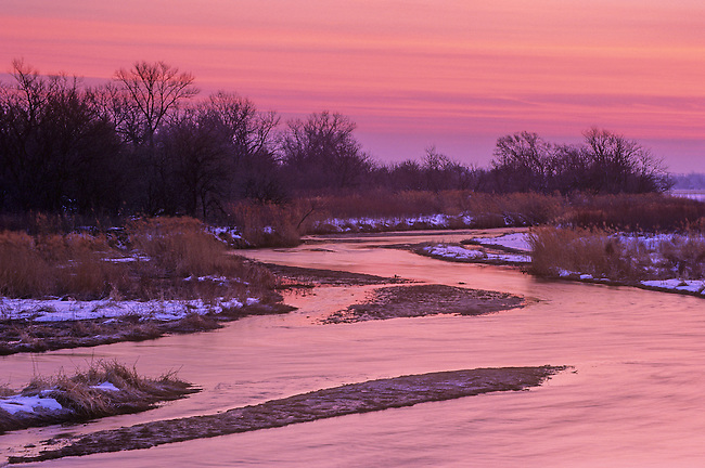 Platte River and Pre-dawn Light reflecting off of the water