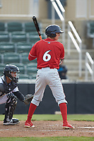 Nick Maton (6) of the Lakewood BlueClaws at bat against the Kannapolis Intimidators at Kannapolis Intimidators Stadium on April 8, 2018 in Kannapolis, North Carolina.  The Intimidators defeated the BlueClaws 4-3 in game two of a double-header.  (Brian Westerholt/Four Seam Images)