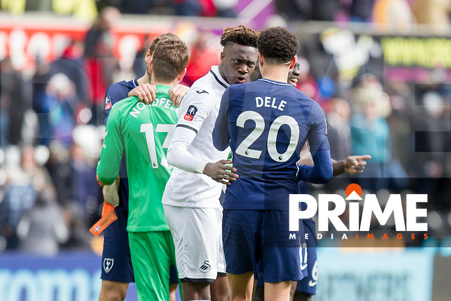 Tammy Abraham of Swansea City speaks with Dele Alli of Tottenham Hotspur at full time of the FA Cup Quarter Final match between Swansea City and Tottenham Hotspur at the Liberty Stadium, Swansea, Wales on 17 March 2018. Photo by Mark  Hawkins / PRiME Media Images.
