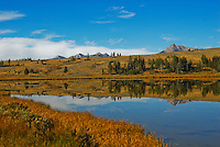 Swan Lake at Yellowstone National Park. Placid waters reflect the landscape and just the tips of the Gallatin mountain range.