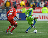 Steve Zakuani (11) of the Seattle Sounders FC shows some of his ball skills in MLS action at BMO Field on April 4, 2009.Seattle won 2-0.