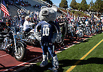 october 22, 2011:    Nevada Wolf Pack mascot Wolfie stands in front of veterans and their motorcycles as they were honored before the game against the Fresno State Bulldogs at Mackay Stadium in Reno, Nevada.