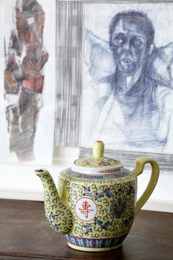 close up of porcelain teapot