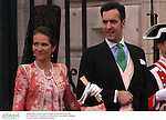 La infanta Elena de Borbon y su marido, Jaime de Marichalar,  asistiendo a la boda del principe Felipe y Letizia Ortiz. Madrid, España, 22/05/04..Princess Elena of Borbon and her husband, Jaime de Marichalar, attending to the wedding of Prince Felipe and Letizia Ortiz. Madrid, Spain, 05/22/04.