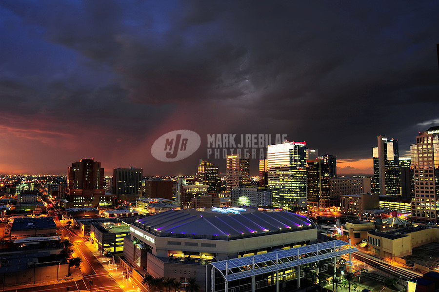 Phoenix Arizona downtown skyscraper high-rise stadium arena basketball Suns US Airways Center sunset monsoon rain city CityScape