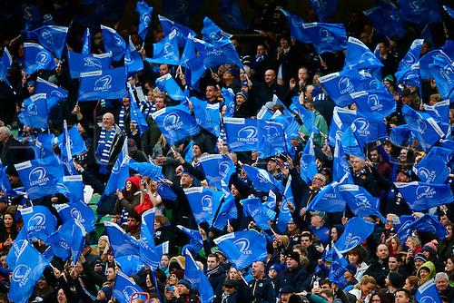 02.04.2016. Aviva Stadium, Dublin, Ireland. Guinness Pro12.  Leinster versus Munster. Leinster fans cheer on their team.