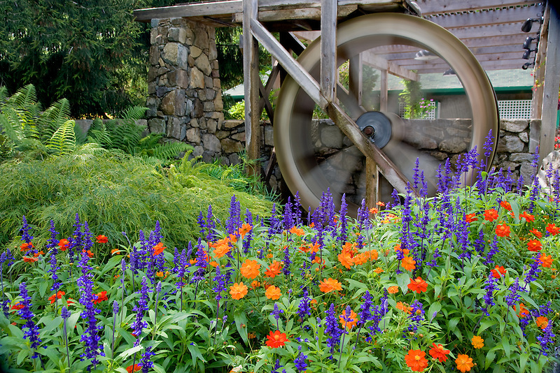 Water wheel and flowers at Butchart Gardens, B.C. Canada