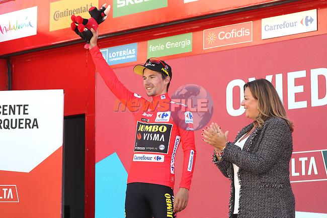 Race leader Primoz Roglic (SLO) Team Jumbo-Visma retains the Red Jersey at the end of Stage 14 of La Vuelta 2019  running 188km from San Vicente de la Barquera to Oviedo, Spain. 7th September 2019.<br /> Picture: Luis Angel Gomez/Photogomezsport | Cyclefile<br /> <br /> All photos usage must carry mandatory copyright credit (© Cyclefile | Luis Angel Gomez/Photogomezsport)