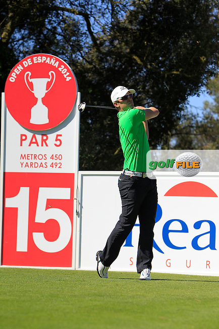 Magnus A Carlsson (SWE) on the 15th tee during Thursday's Round 1 of The Open De Espana at The PGA Catalunya Resort. 15th May 2014.<br /> Picture:  Thos Caffrey / www.golffile.ie