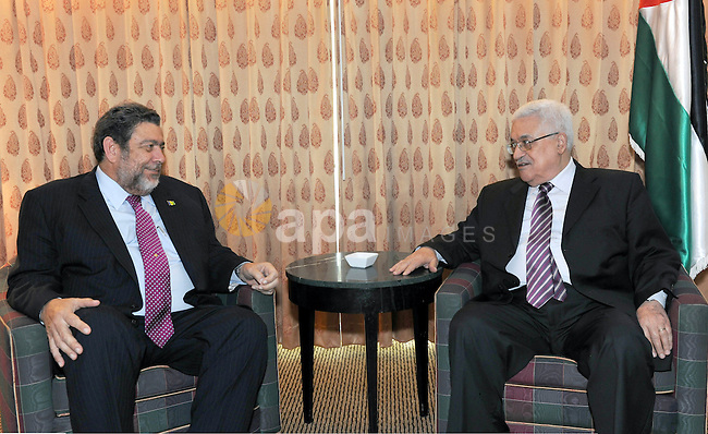 Palestinian President Mahmoud Abbas (Abu Mazen) during a meeting with Prime Minister Vincent and Jrinadinez, in New York on Sep. 21, 2011. Photo by Thaer Ganaim