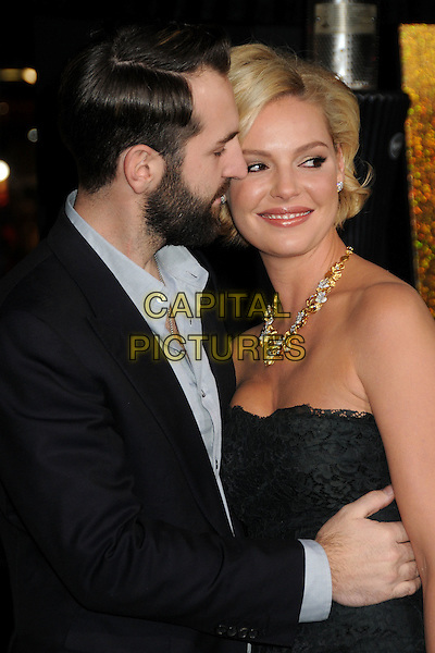 Josh Kelley & Katherine Heigl.'New Year's Eve' Los Angeles premiere at  Grauman's Chinese Theatre, Hollywood, California, USA..5th December 2011.half length dress black lace strapless suit beard facial hair married husband wife gold necklace diamonds profile .CAP/ADM/BP.©Byron Purvis/AdMedia/Capital Pictures.