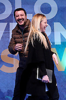 Matteo Salvini e Giorgia Meloni<br /> Roma 28-01-2017. Piazza San Silvestro. Manifestazione della Destra 'Il popolo a governo Italia sovrana'.<br /> Rome January 28th 2017. Demonstration of the right wing against the Government.<br /> Foto Samantha Zucchi Insidefoto