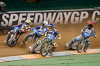 PIOTR PAWLICKI (Poland) in action, Blue helmet, leads during an early heat of the 2016 Adrian Flux British FIM Speedway Grand Prix at Principality Stadium, Cardiff, Wales  on 9 July 2016. Photo by David Horn.